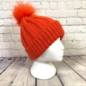 Topshop Orange Knit PomPom Beanie Hat